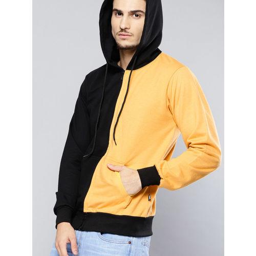 Kook N Keech Men Black & Yellow Colourblocked Hooded Sweatshirt