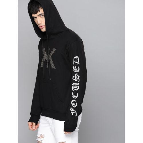Kook N Keech Men Black Rubber Print Hooded Sweatshirt
