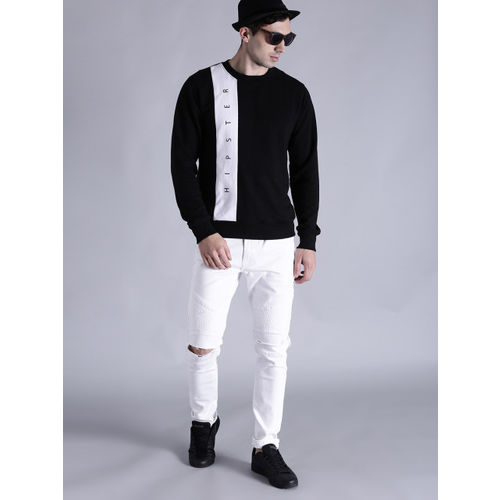 Kook N Keech Men Black & White Printed Sweatshirt