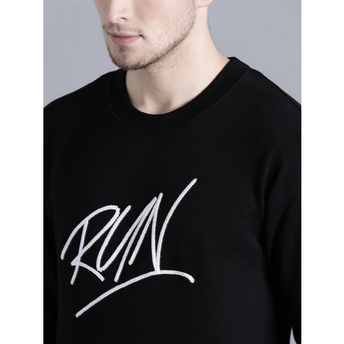 Kook N Keech Men Black Embroidered Detail Sweatshirt