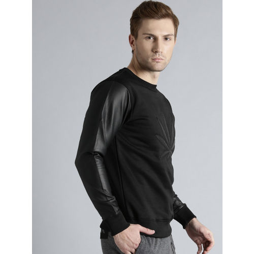 Kook N Keech Black Faux Leather Sweatshirt