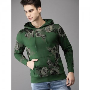 Moda Rapido Men Green Printed Hooded Sweatshirt