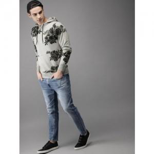 Moda Rapido Men Grey Printed Hooded Sweatshirt