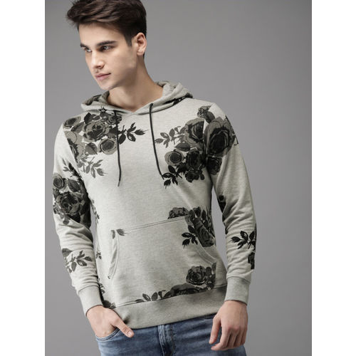 Moda Rapido Men Grey Printed Hooded Sweatshirt