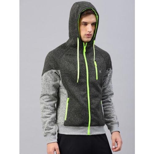 HRX by Hrithik Roshan Grey Solid Hooded Sweatshirt