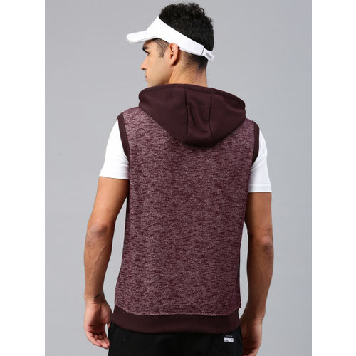 HRX by Hrithik Roshan Men Maroon Solid Hooded Sweatshirt