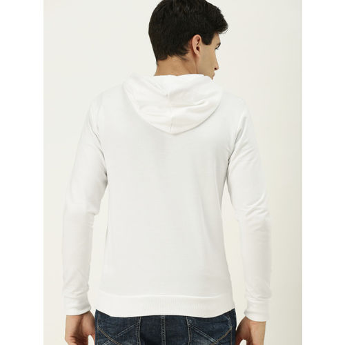 United Colors of Benetton Men White Solid Hooded Sweatshirt