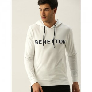 United Colors of Benetton Men White Printed Hooded Sweatshirt