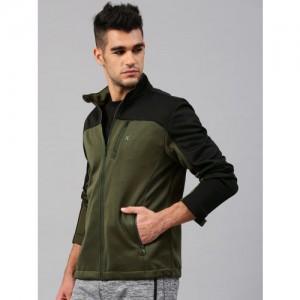 HRX by Hrithik Roshan Men Olive Green & Black Colourblocked Sweatshirt