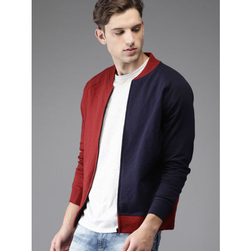 Moda Rapido Men Red & Navy Blue Colourblocked Sweatshirt