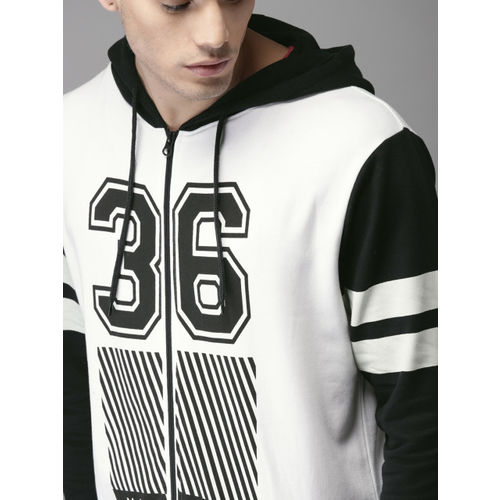 Moda Rapido White Printed Hooded Sweatshirt