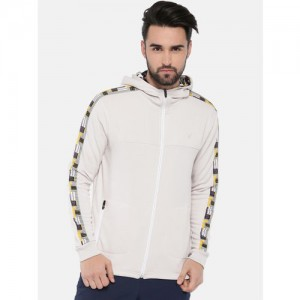 HRX by Hrithik Roshan White Solid Hooded Sweatshirt