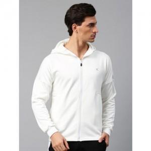 HRX by Hrithik Roshan Men White Solid Hooded Sweatshirt