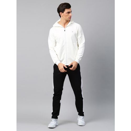 HRX by Hrithik Roshan Men White Solid Hooded Sweatshirt