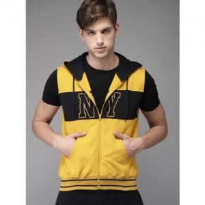 Moda Rapido Yellow & Black Colourblocked Hooded Sweatshirt