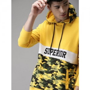 Moda Rapido Yellow Camouflage Printed Hooded Sweatshirt