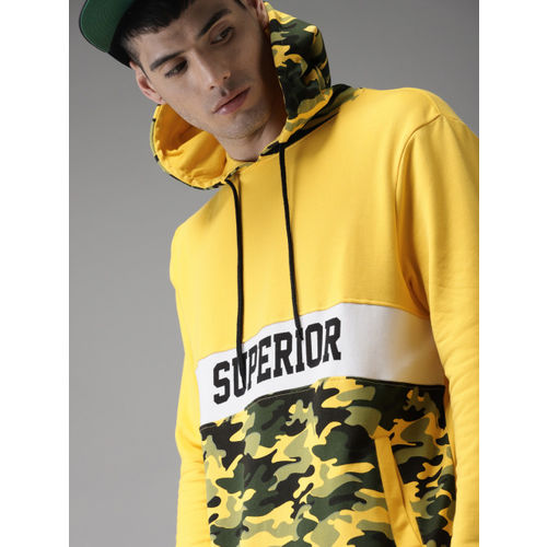 Moda Rapido Yellow Camouflage Printed Hooded Sweatshirt
