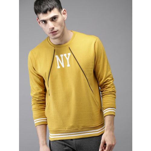 Moda Rapido Men Mustard Yellow Printed Sweatshirt