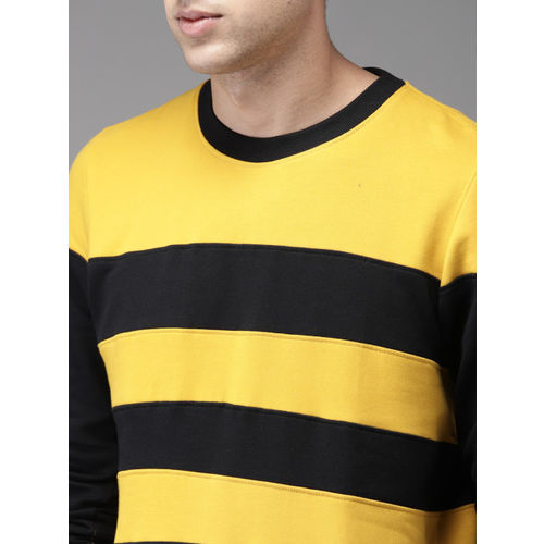 Moda Rapido Men Mustard Yellow & Black Striped Sweatshirt