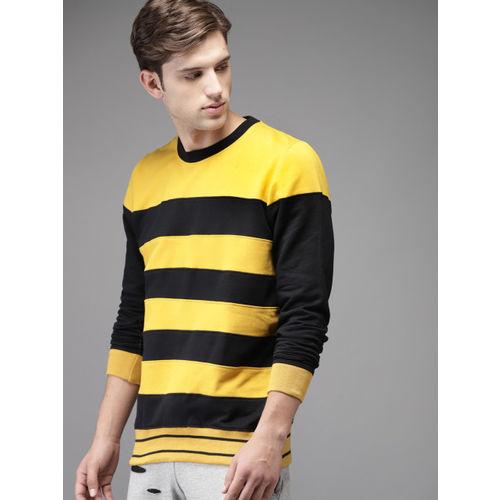 Moda Rapido Men Mustard Yellow & Black Striped Sweatshirt