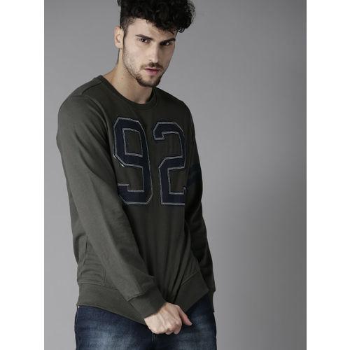 Moda Rapido Charcoal Grey Solid Sweatshirt with Applique Detail