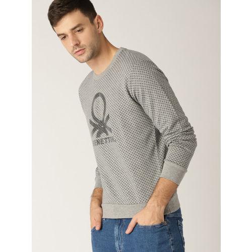 United Colors of Benetton Men Grey & Navy Printed Sweatshirt