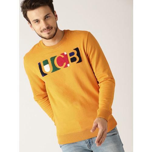 United Colors of Benetton Men Mustard Yellow Applique Detail Sweatshirt