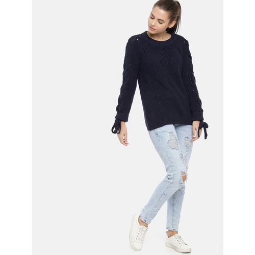 United Colors of Benetton Navy Blue Self Design Sweater