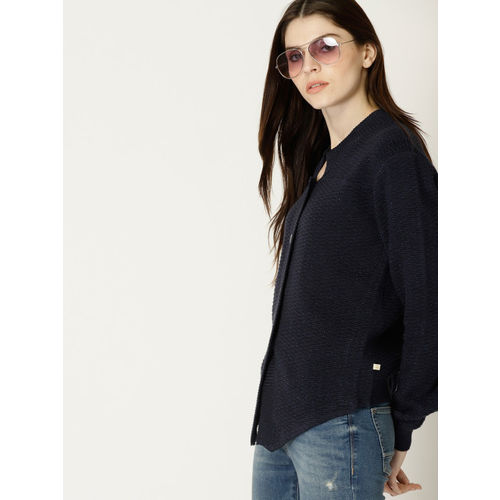 United Colors of Benetton Navy Blue Solid Cardigan