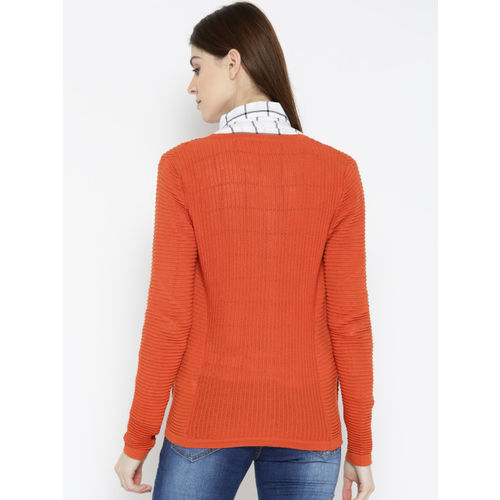 United Colors of Benetton Women Orange Self-Striped Cardigan