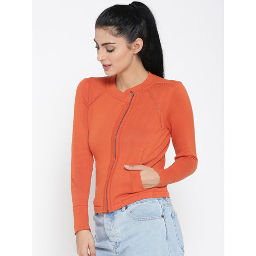 United Colors of Benetton Women Orange Solid Cardigan