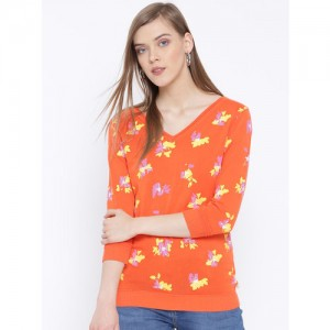 United Colors of Benetton Women Orange Printed Sweater