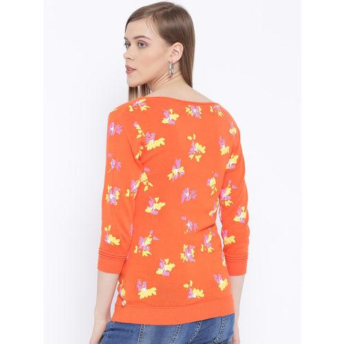 United Colors of Benetton Women Orange Printed Sweater