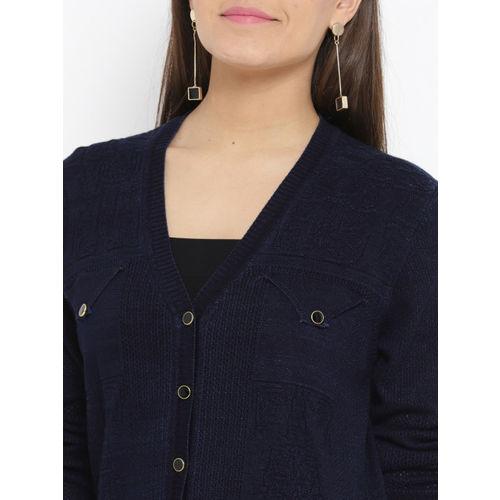 Monte Carlo Women Navy Blue Self Design Cardigan