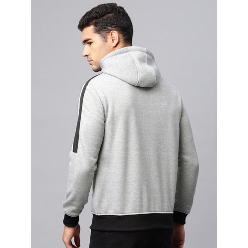 HRX by Hrithik Roshan Men Grey Solid Hooded Sweatshirt