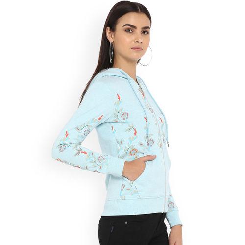 Monte Carlo Women Blue Printed Hooded Sweatshirt