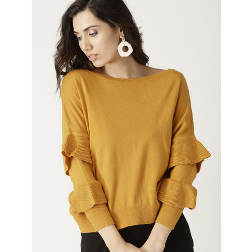 United Colors of Benetton Women Mustard Yellow Solid Pullover