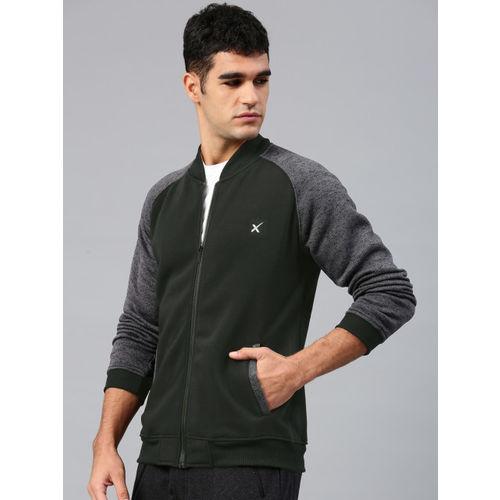 HRX by Hrithik Roshan Men Black & Grey Colourblocked Sweatshirt