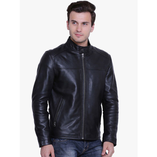 Justanned Men Black Solid Leather Jacket