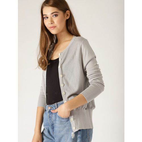 United Colors of Benetton Women Grey Solid Cardigan