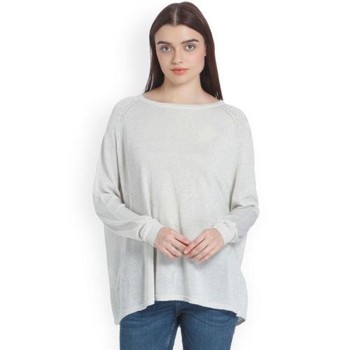finest selection b711f bcdca Buy Vero Moda Off White Self Design Pullover Sweater online ...