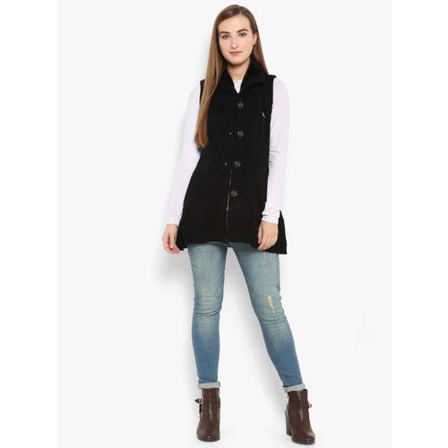 Monte Carlo Women Black Solid Cardigan