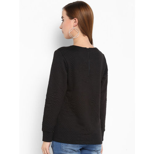 Monte Carlo Women Black Self Design Sweatshirt