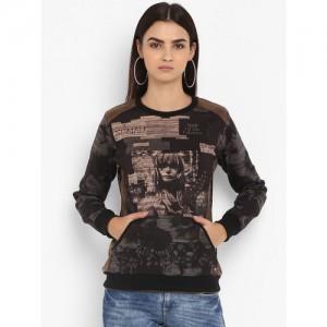 Monte Carlo Women Black & Taupe Printed Sweatshirt