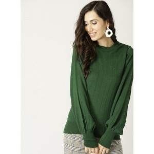 United Colors of Benetton Green Self-Striped Pullover