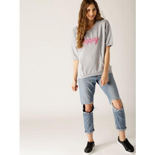 United Colors of Benetton Grey Melange Embroidered Sweatshirt