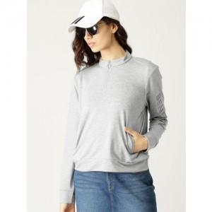 United Colors of Benetton Women Grey Melange Solid Sweatshirt