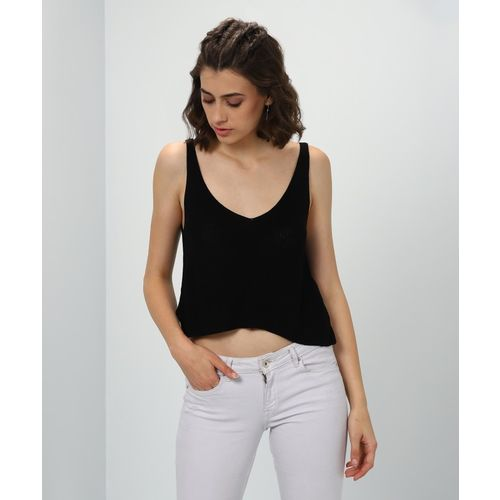Forever 21 Solid V-neck Casual Women's Black Sweater