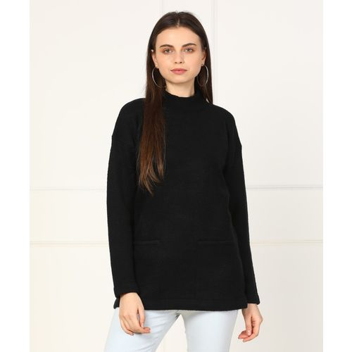 Forever 21 Self Design High Neck Casual Women's Black Sweater