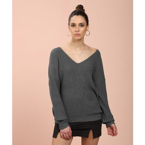 Forever 21 Solid V-neck Casual Women's Grey Sweater
